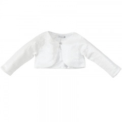 Girls White Sequin Long Sleeved Bolero