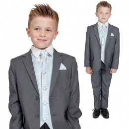 Boys Grey & Blue 6 Piece Slim Fit Suit