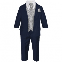 Boys Navy & Grey Swirl 6 Piece Slim Fit Suit