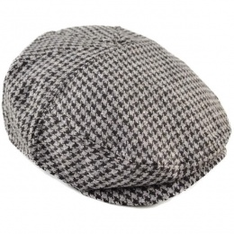 Boys Grey Tweed Check Wool Flat Cap