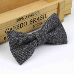 Boys Grey Tweed Wool Bow Tie with Adjustable Strap