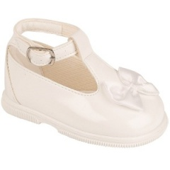 Girls Ivory Patent Ankle Strap Special Occasion Shoes
