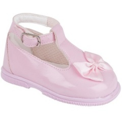Girls Pink Patent Ankle Strap Special Occasion Shoes