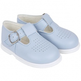 Boys Sky Blue Matt T-bar First Walker Shoes