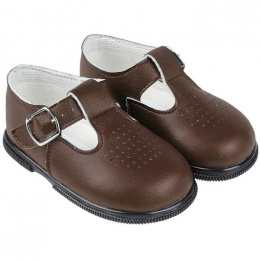 Boys Brown Matt T-bar First Walker Shoes