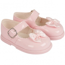 Girls Pink Patent Satin Bow Special Occasion Shoes
