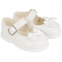 Girls White Patent Satin Bow Special Occasion Shoes