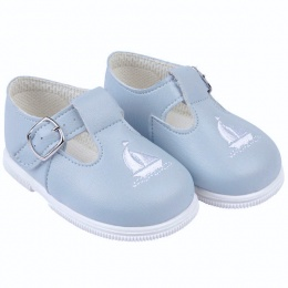 Boys Sky Blue & White Boat T-bar First Walker Shoes