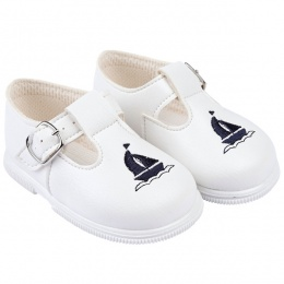 Boys White & Navy Boat T-bar First Walker Shoes