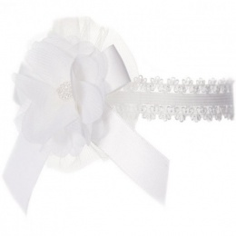 Baby Girls White Lace Headband with Flower, Bow & Bead Motif