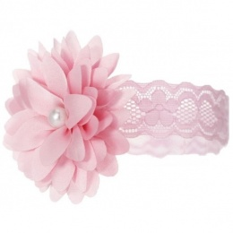 Baby Girls Pink Lace Headband with Flower & Pearl Motif