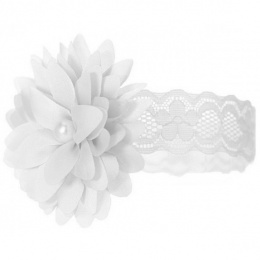 Baby Girls White Lace Headband with Flower & Pearl Motif
