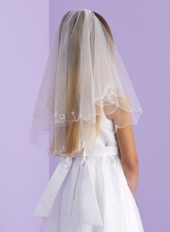 Girls Two Tier Beaded Trim Veil - Hope P150 by Peridot
