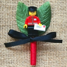 Boys Lego Postman Buttonhole with Satin Bow & Stem