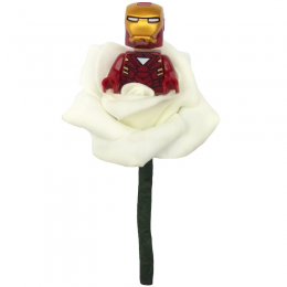 Boys Iron Man Ivory Rose Buttonhole