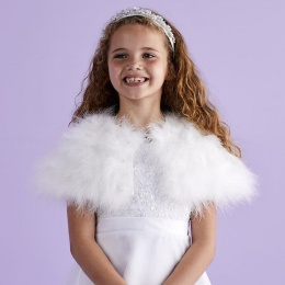 Girls White Marabou Shrug - Isabella P130 by Peridot