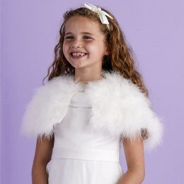 Girls Ivory Marabou Shrug - Isabella P130A by Peridot