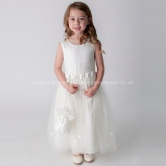 Girls Ivory Organza Satin Butterfly Dress & Dolly Bag