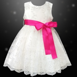 Girls Ivory Floral Lace Dress with Hot Pink Satin Sash
