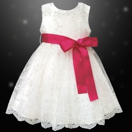 Girls Ivory Floral Lace Dress with Fuchsia Pink Satin Sash