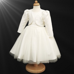 Girls Ivory Diamante Organza Dress with Bolero Jacket