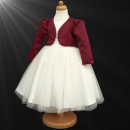 Girls Ivory Diamante Organza Dress with Burgundy Bolero Jacket