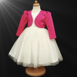 Girls Ivory Diamante Organza Dress with Cerise Bolero Jacket