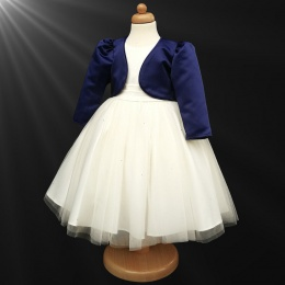Girls Ivory Diamante Organza Dress with Navy Bolero Jacket