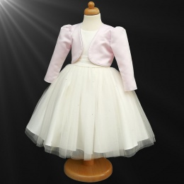 Girls Ivory Diamante Organza Dress with Pink Bolero Jacket