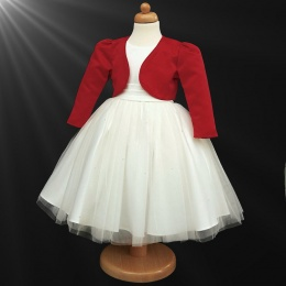Girls Ivory Diamante Organza Dress with Red Bolero Jacket