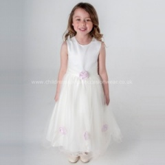 Girls Ivory & Pink Diamante Rose & Organza Tulle Dress