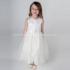 Girls Ivory Diamante Rose & Organza Tulle Dress