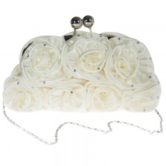 Girls Ivory Diamante Satin Rose Clutch Bag