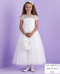 Ivory Lace Bodice Holy Communion Dress - Lydia P155A by Peridot