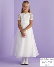 Ivory Lace Sleeve Holy Communion Dress - Melissa P159A by Peridot