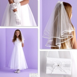 Izzy White Communion Dress, Bag, Gloves & Veil - Peridot