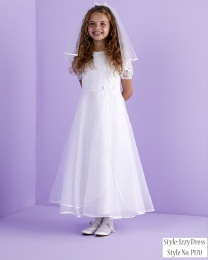 White Lace Organza Holy Communion Dress - Izzy P170 by Peridot