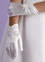 Girls White Ruched Communion Gloves - Jessica P118 by Peridot