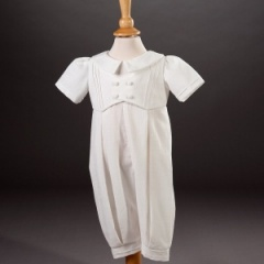 Baby Boys Millie Grace 'Jude' Linen Look Cotton Christening Romper Suit