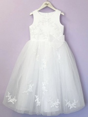 White Guipure Lace Tutu Communion Dress - June P196 by Peridot