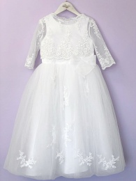 White Guipure Communion Dress & Long Bolero - June & Mary by Peridot