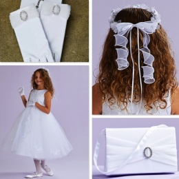 June White Communion Dress, Bag, Gloves & Hair Wreath - Peridot