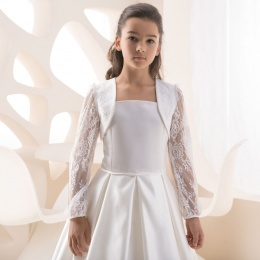 Girls Ivory Lace & Satin Bolero by Lacey Bell Style K104