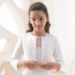 Girls Lace & Satin 3/4 Sleeve Jacket by Lacey Bell Style K110