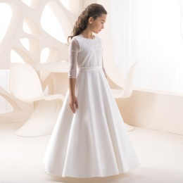 Girls Ivory Taffeta & Tulle 3/4 Sleeve Dress by Lacey Bell Style K224