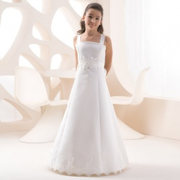 Girls Ivory Lace & Taffeta Dress by Lacey Bell Style K226
