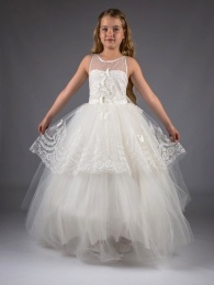 Girls Ivory Butterfly Glitter Sequinned Tulle Hoop Dress
