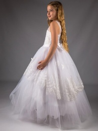 Girls White Butterfly Glitter Sequinned Tulle Hoop Dress