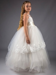 Girls Ivory Embroidered Lace Satin Belt Tulle Hoop Dress