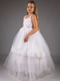 Girls White Embroidered Lace Satin Belt Tulle Hoop Dress